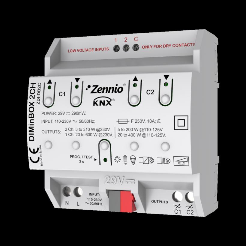 DIMinBOX 2CH (Универсальный KNX диммер, 2-канальный, 2 входа)